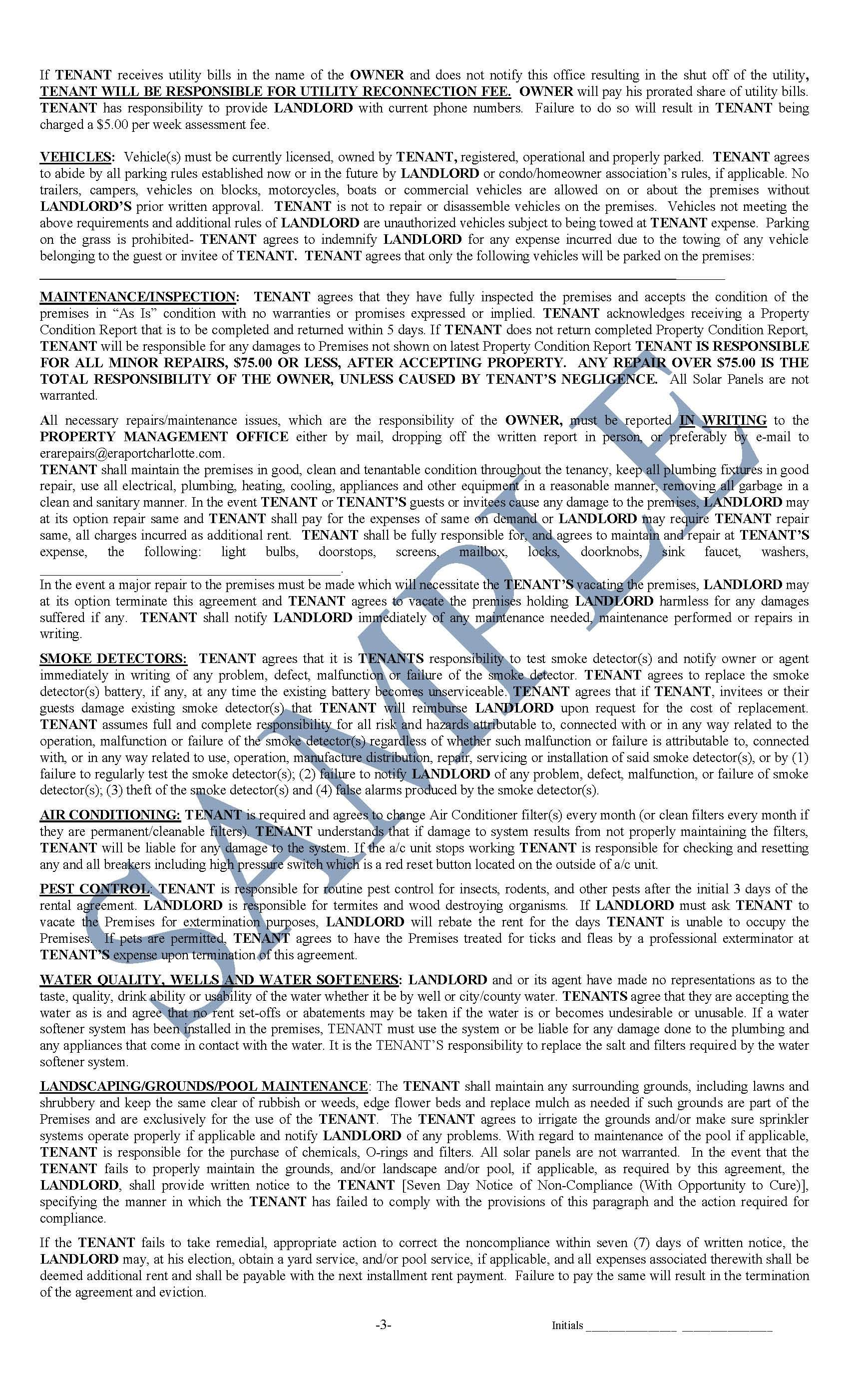 Sample Rental Agreement