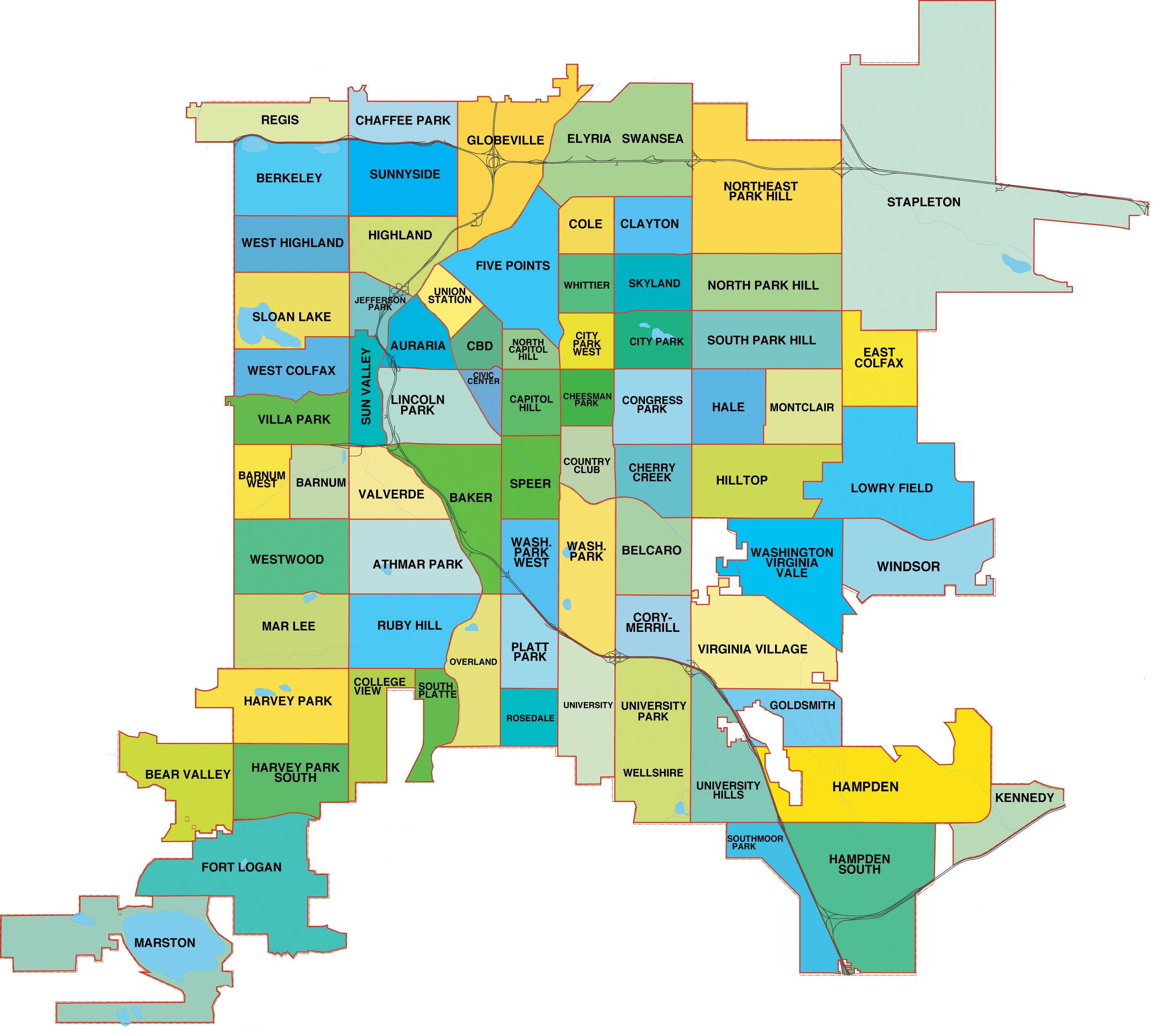 Maps of Denver | Live Urban Denver Denver Suburbs Map on