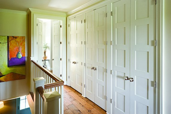 This Bank Of Closet Doors Features Flat Panel Doors Made From Low Cost MDF.  The Double Opening Design Of Each Set Of Doors Ensures That An Open Door  Doesnu0027t ...